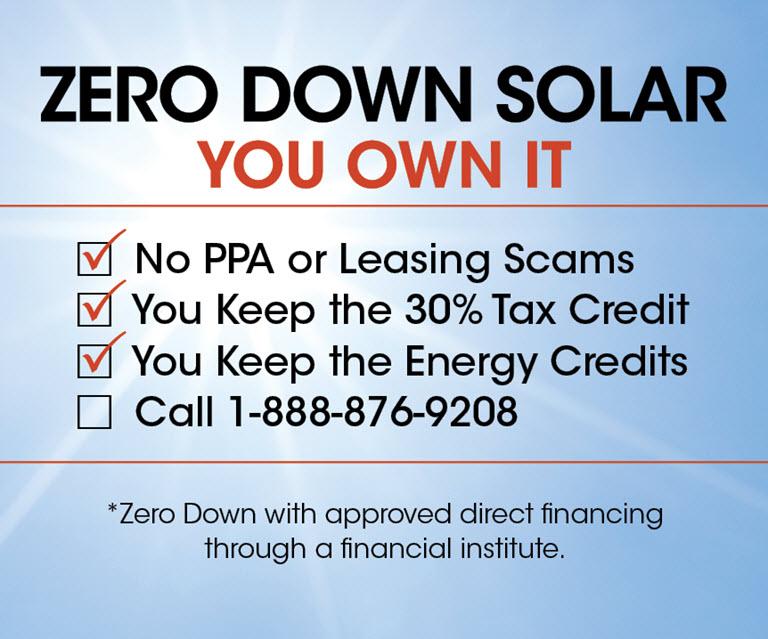 Zero Down Solar Panels